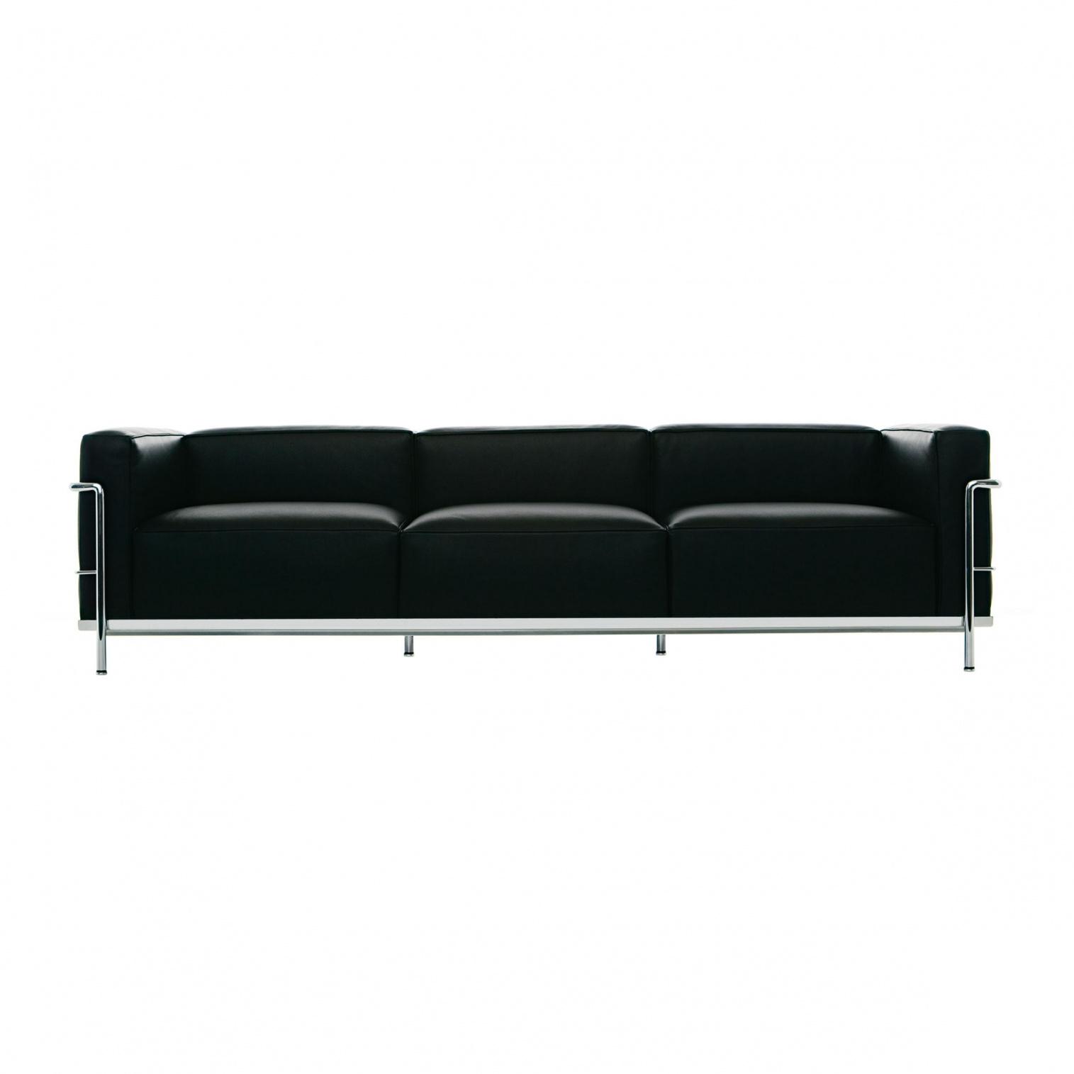 Cassina - Le Corbusier LC3 - Canapé 3 places - graphite/cuir scozia 13X606/structure chromé/PxHxP 237x62x73cm