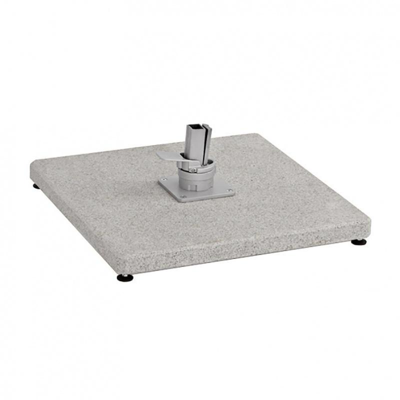 Weishäupl - Schirmständer Granit 125kg - grau-weiß/Hülse Edelstahl/H 9cm/für Freiarmschirm Ø350cm| 300x300cm | Garten > Sonnenschirme und Markisen | Weishäupl