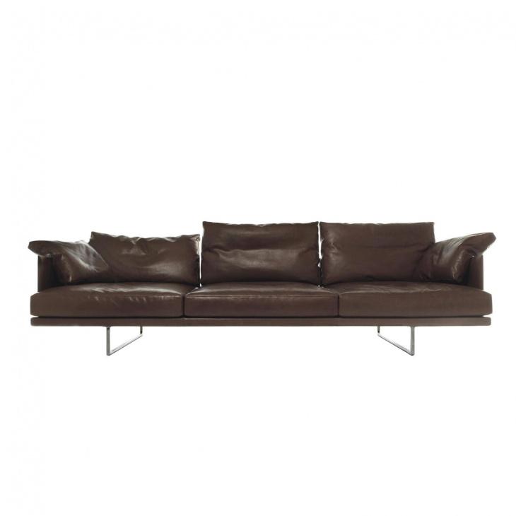 Cassina - Toot - Canapé 3 places - marron foncé/cuir 13Z303/LxPxH 265x83x68cm/avec 2 coussins de dossie