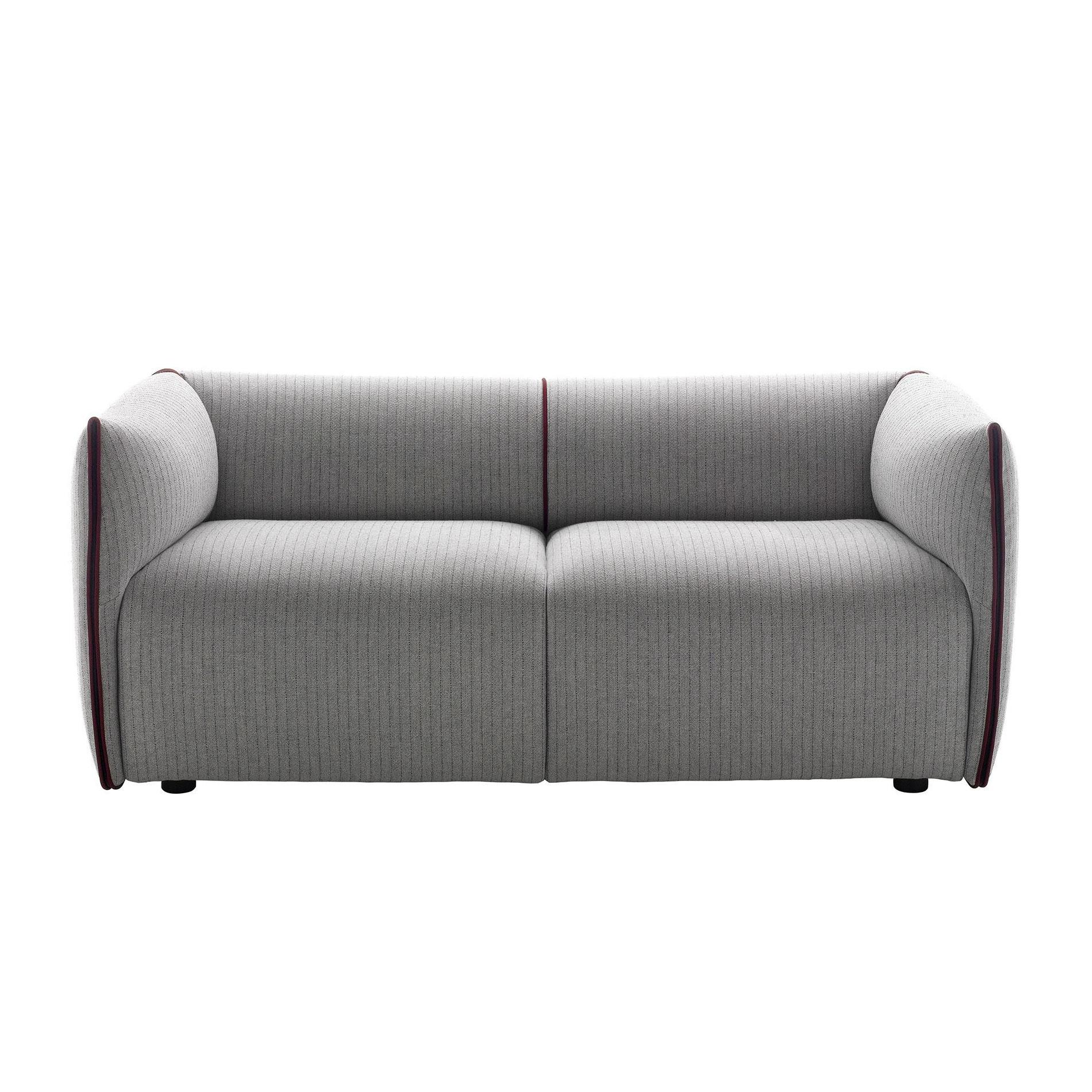 MDF Italia - Mia 2S Extra - Canapé 2 places - clair gris/bordeaux/étoffe Frank R352 Col. 419.003/PxHxP 174x70x83cm/bord Londra bordeaux