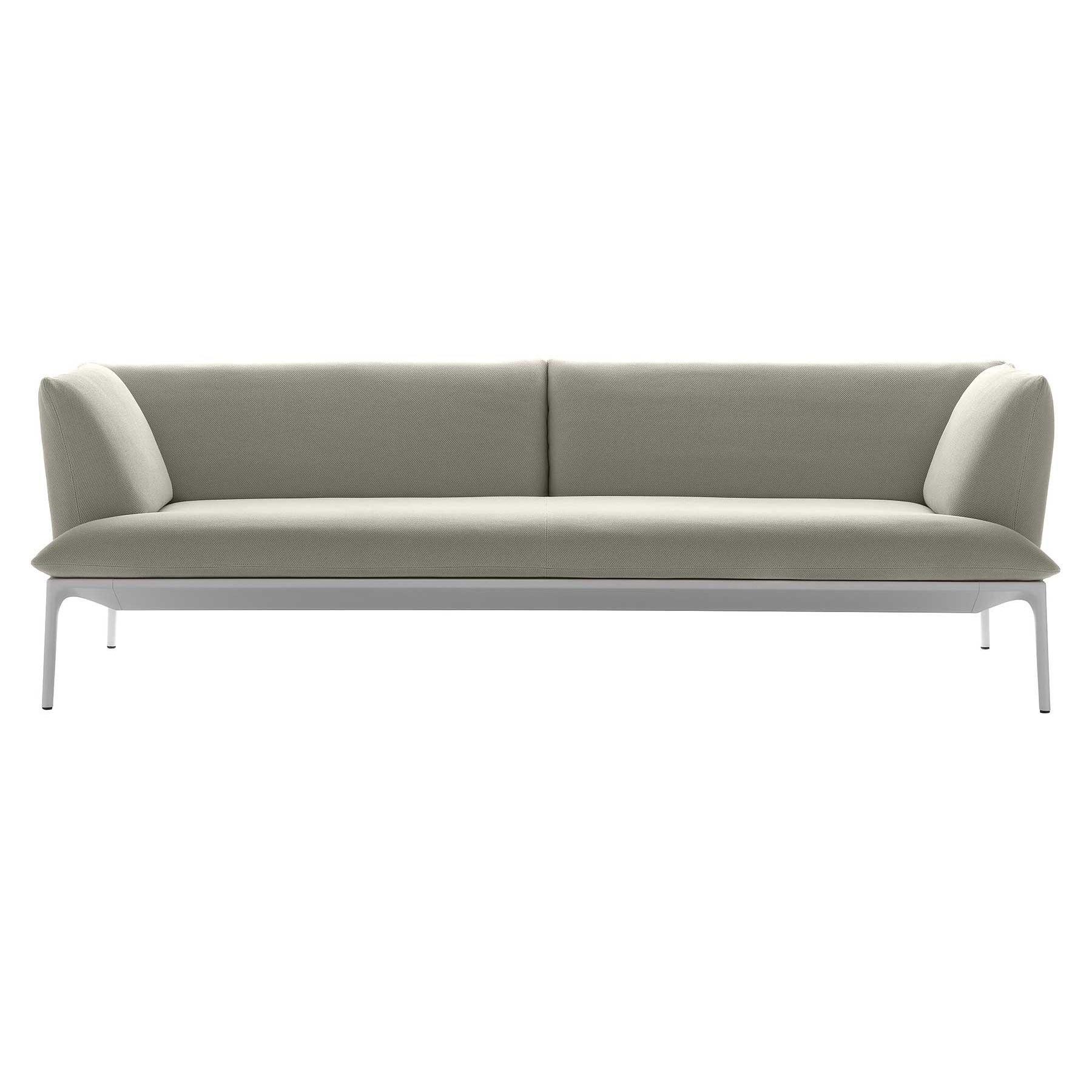 MDF Italia - Yale S4 - Canapé de 4 places - clair gris/étoffe Menfi R366 Col. 166/PxHxP 260x76x86cm/structure laqué blanc mat