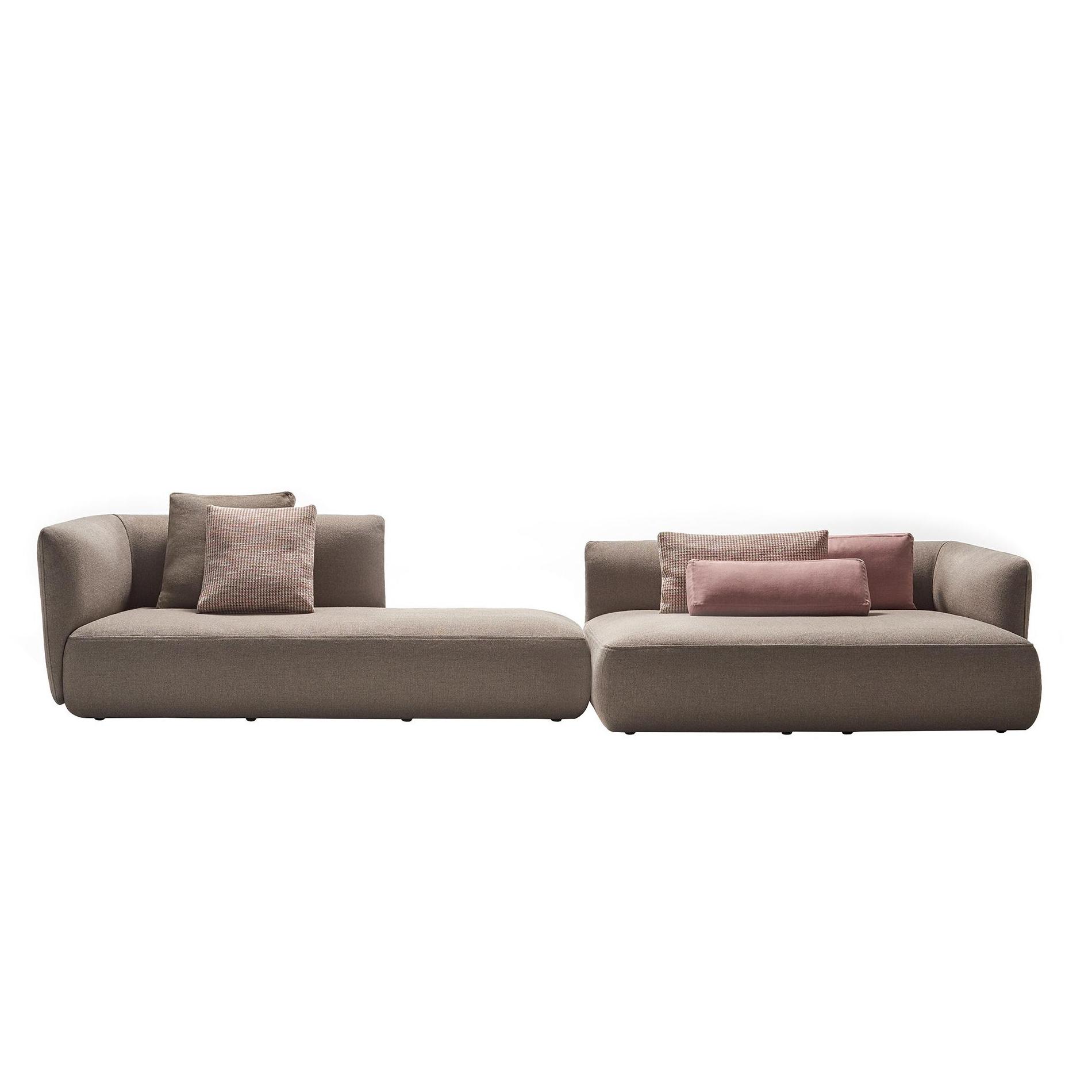 MDF Italia - Cosy - Canapé lounge 355x180cm - tourterelle/étoffe Menfi R370 Col. 445/PxHxP 355x80x180cm/sans coussins décoratifs