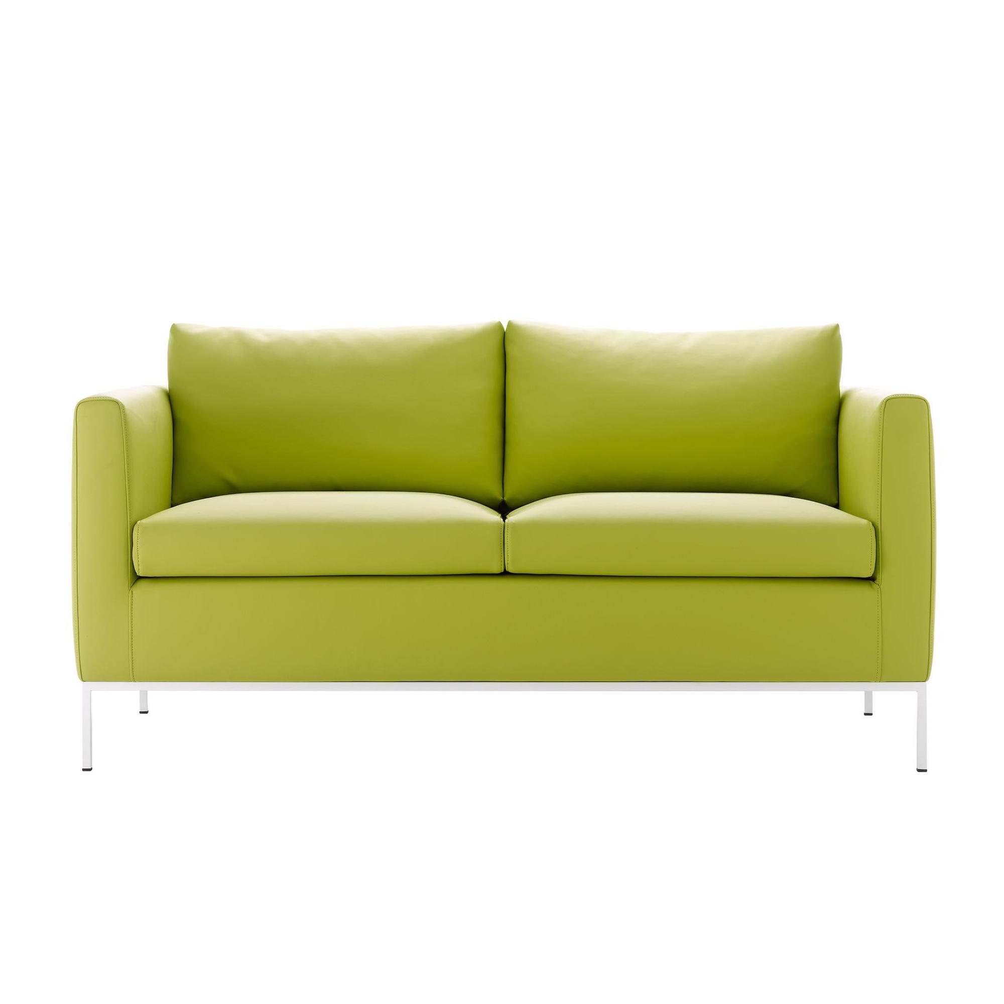 MDF Italia - Pad 3.0 - Canapé 2 places - vert clair/cuir artificiel York R349 Col. 931/PxHxP 137x74x77cm/structure laqué blanc mat
