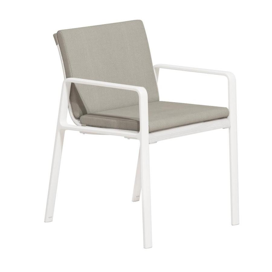 Kettal - Chaise de jardin avec accoudoirs Park Life - gris/blanc/étoffe Parallels 528 lace coral/PxHxP 57x82x62cm/avec coussin 291 porousgrey/struc