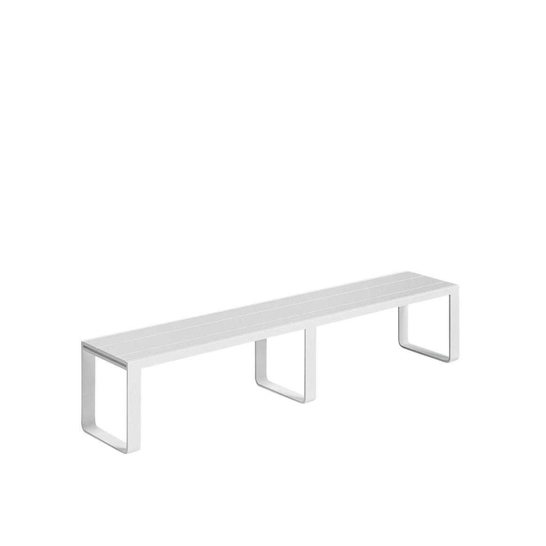 Gandia Blasco - Flat Gartenbank - weiß/BxHxT 210x42x40cm/Gestell Aluminium weiß | Garten > Gartenmöbel > Gartenbänke | Gandia Blasco