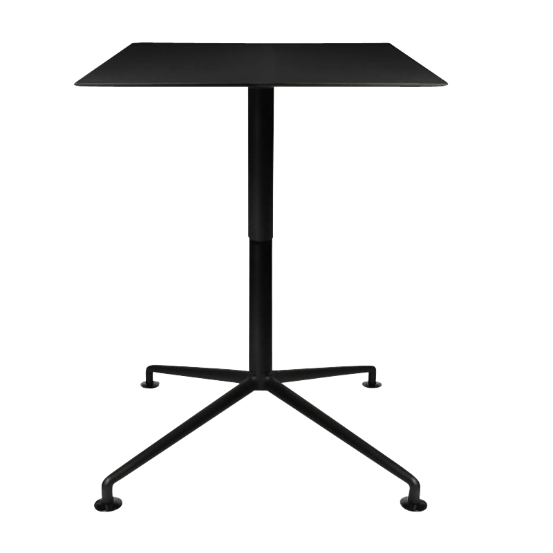 Wagner - W-Lift - Table d'appoint 90x90cm - noir/stratifié HPL 13mm/structure aluminium noir graphite mat/H 73-103cm/patins incl.