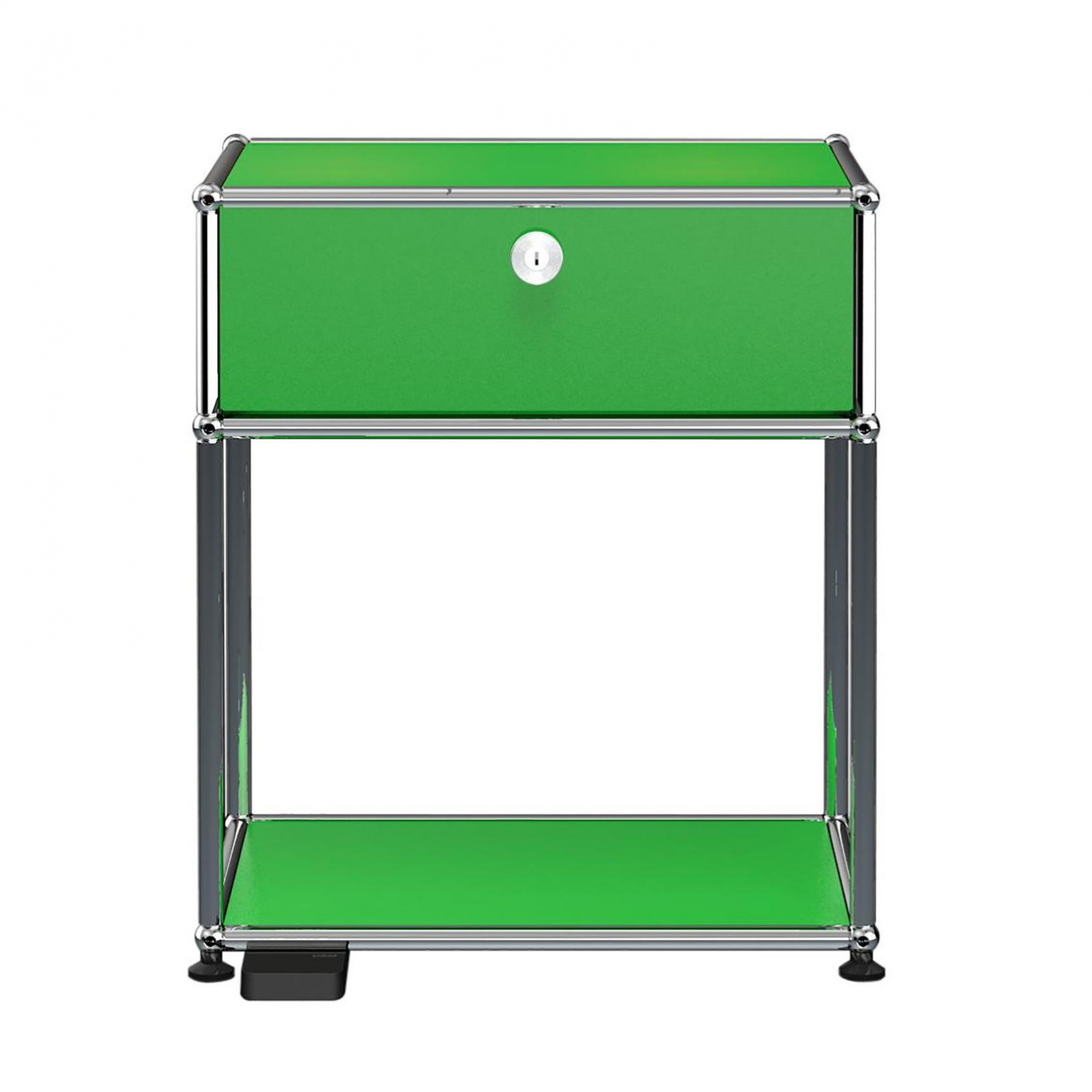USM E Nachttisch mit dimmbarem Licht - USM grün/mit einer Klapptür/mit dimmbarem Licht | Schlafzimmer > Nachttische | Usm grün | Stahl verchromt | USM