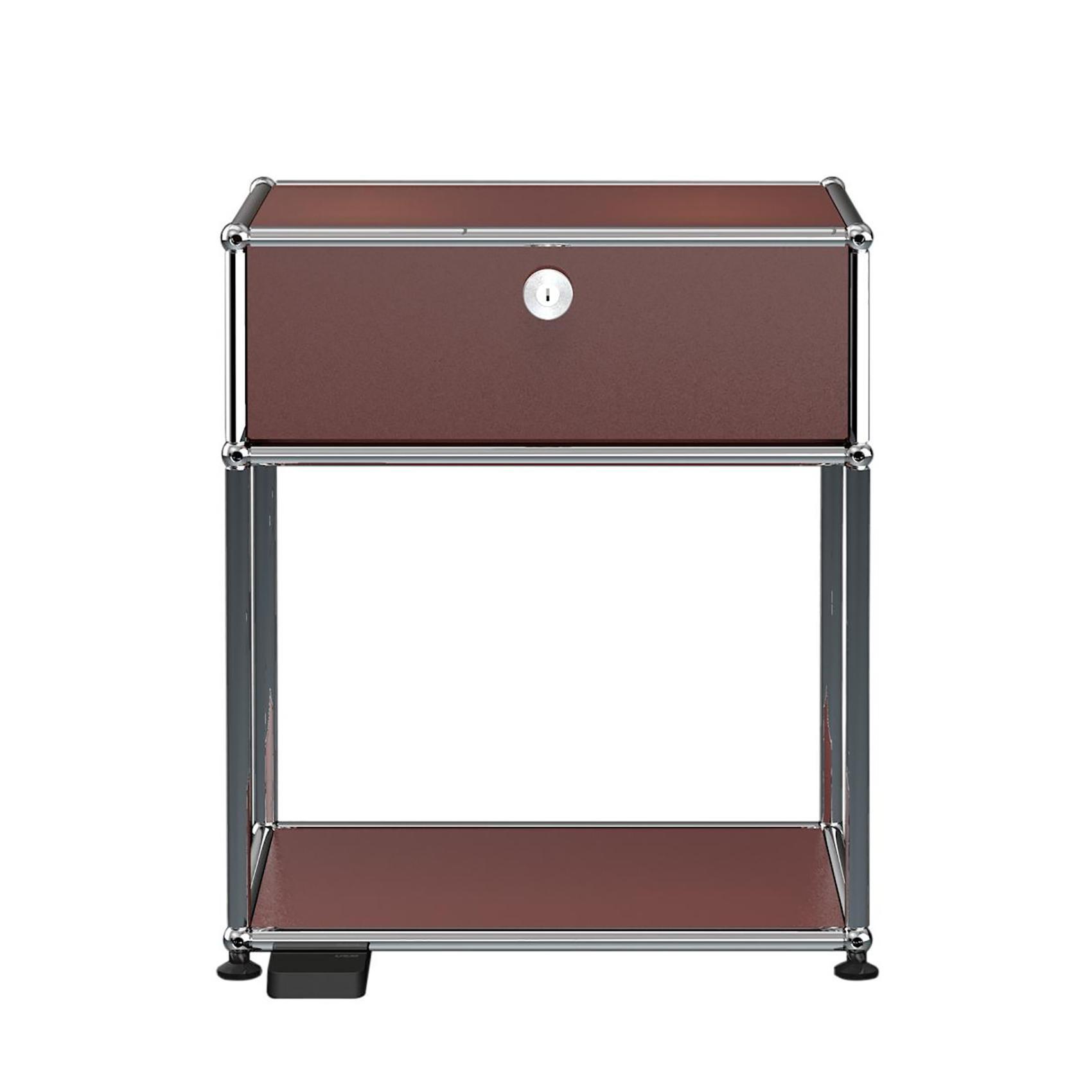 USM E Nachttisch mit dimmbarem Licht - USM braun/mit einer Klapptür/mit dimmbarem Licht | Schlafzimmer > Nachttische | Usm braun | Stahl verchromt | USM