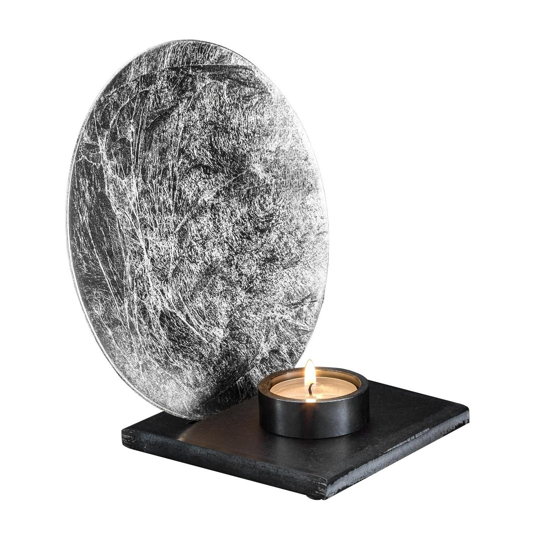 Catellani & Smith - Luna Kerzenleuchter - silber/Scheibe Ø17cm/inkl. Kerze/inkl. Teelichthalter mit Magnet/Fuß Eisen schwarz 11x11cm | Dekoration > Kerzen und Kerzenständer > Kerzenleuchter | Catellani & Smith