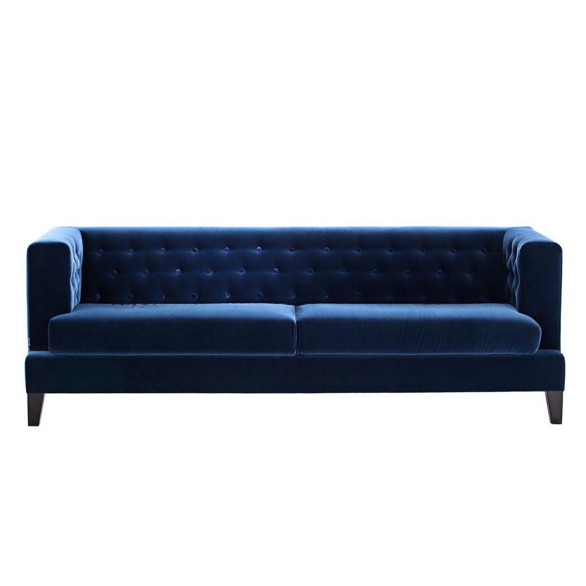 Driade - Canapé 3 de places Hall - bleu/tissu velours Loira Blu 256/PxHxP 230x75x84cm/cadre conglomerate