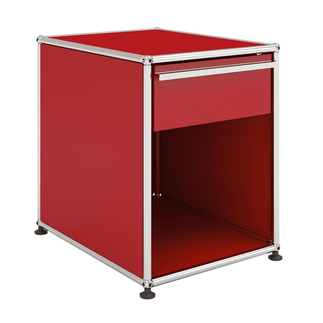 USM Haller Nachttisch mit Schublade - USM rubinrot/41.8 x 54 x 52.3 cm/1 offenes Fach | Schlafzimmer > Nachttische | Usm rubinrot | Metall | USM