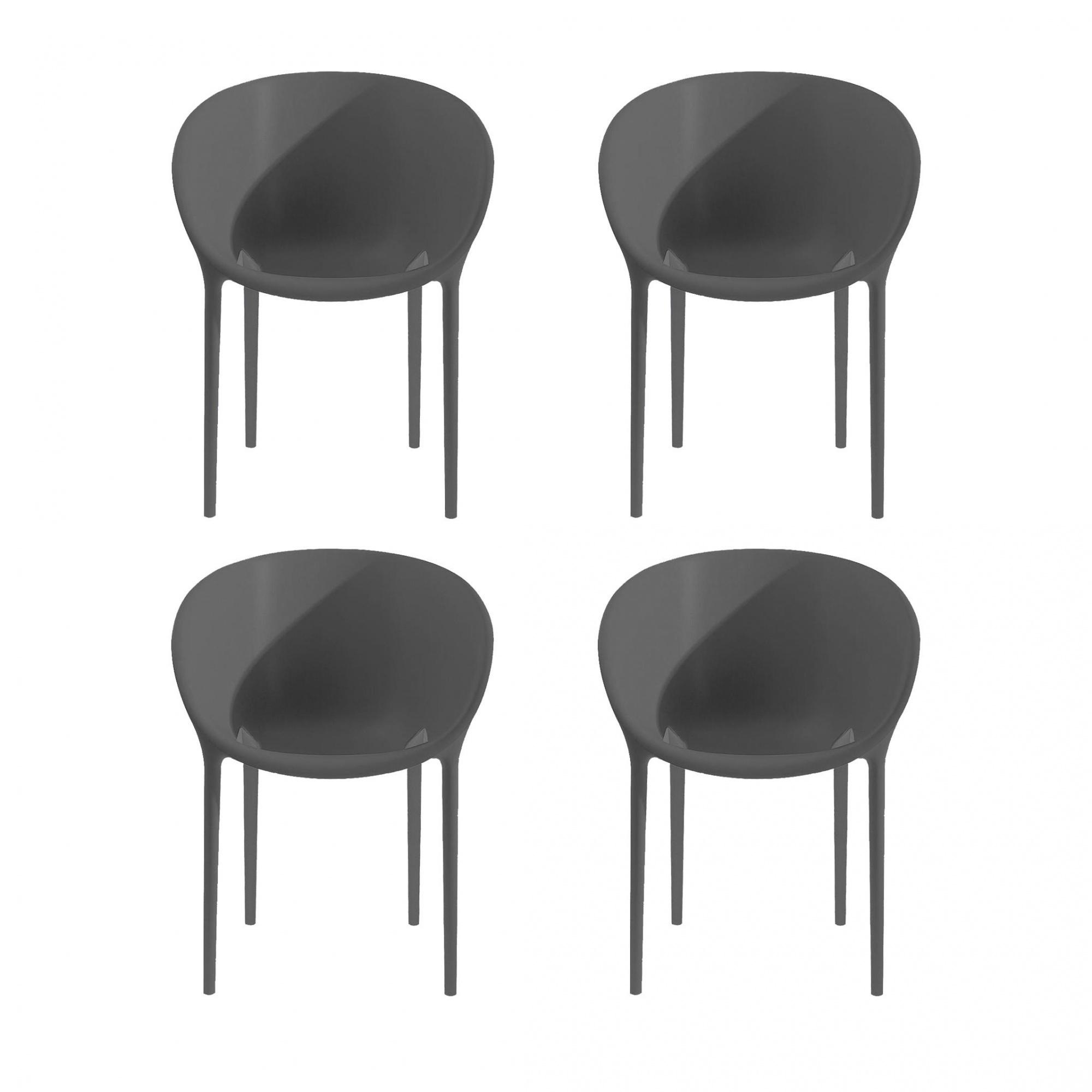 Driade - Soft Egg Gartenarmlehnstuhl 4er Set - dunkelgrau/Kunststoff/BxHxT 61x74x58cm/neue Farbe | Garten | Driade