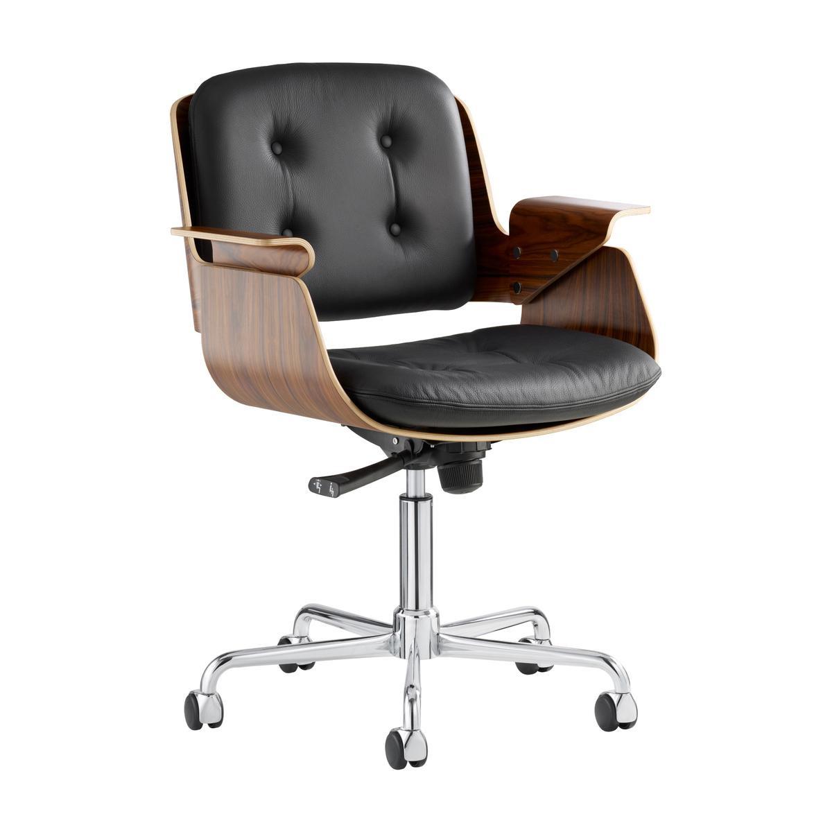 TECTA - Tecta D49 Schreibtischsessel mit Rollen - Palisander/ Leder schwarz/Drehgestell: Stahlrohr verchromt/höhenverstellbar von 88 bis 102 cm/mit   Büro > Bürostühle und Sessel  > Chefsessel   TECTA