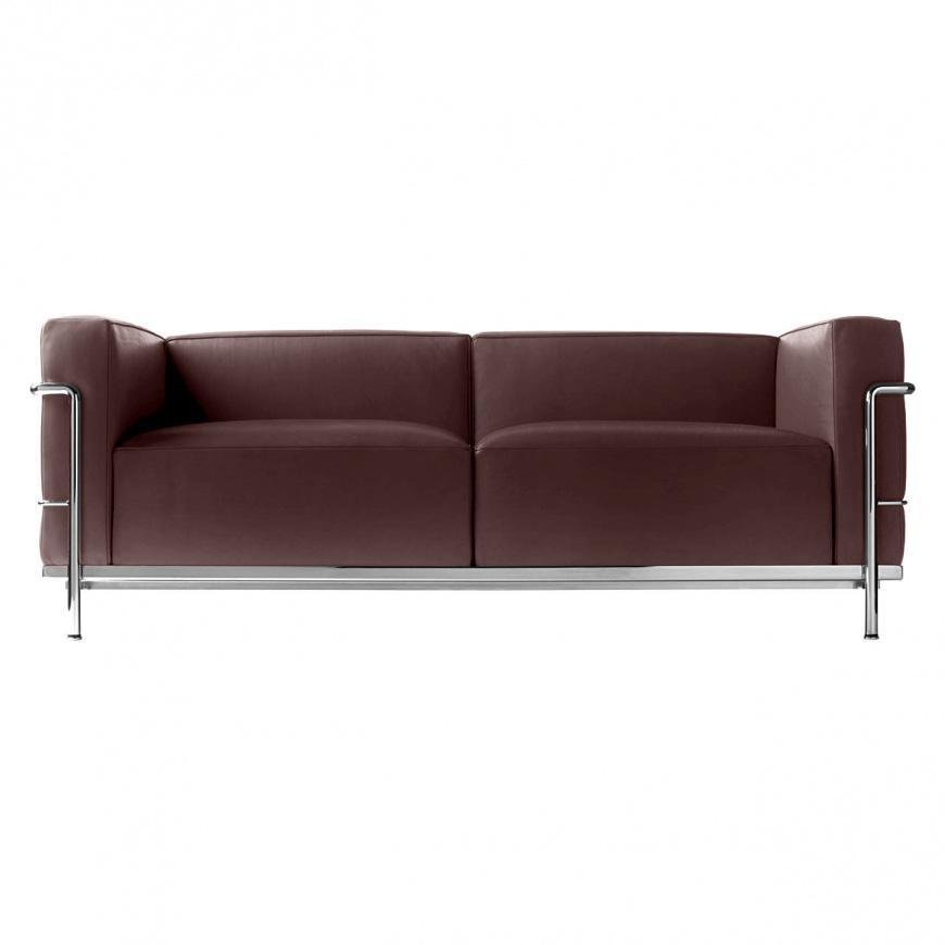 Cassina - Le Corbusier LC3 - Canapé deux places - marron/cuir scozia 13X333/structure chromé/PxHxP 168x62x73cm