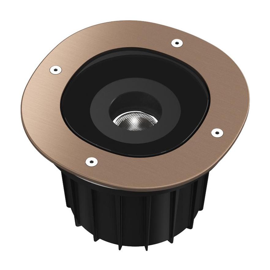 Flos - A-Round 150 LED Außenbodenleuchte 25° - bronze/gebürstet/Abstrahlwinkel 25°/Ø 15cm/H 13|5cm/inkl. Transformator/LED 8W 663lm 3000K CRI80 | Lampen > Aussenlampen > Bodeneinbauleuchten | Flos