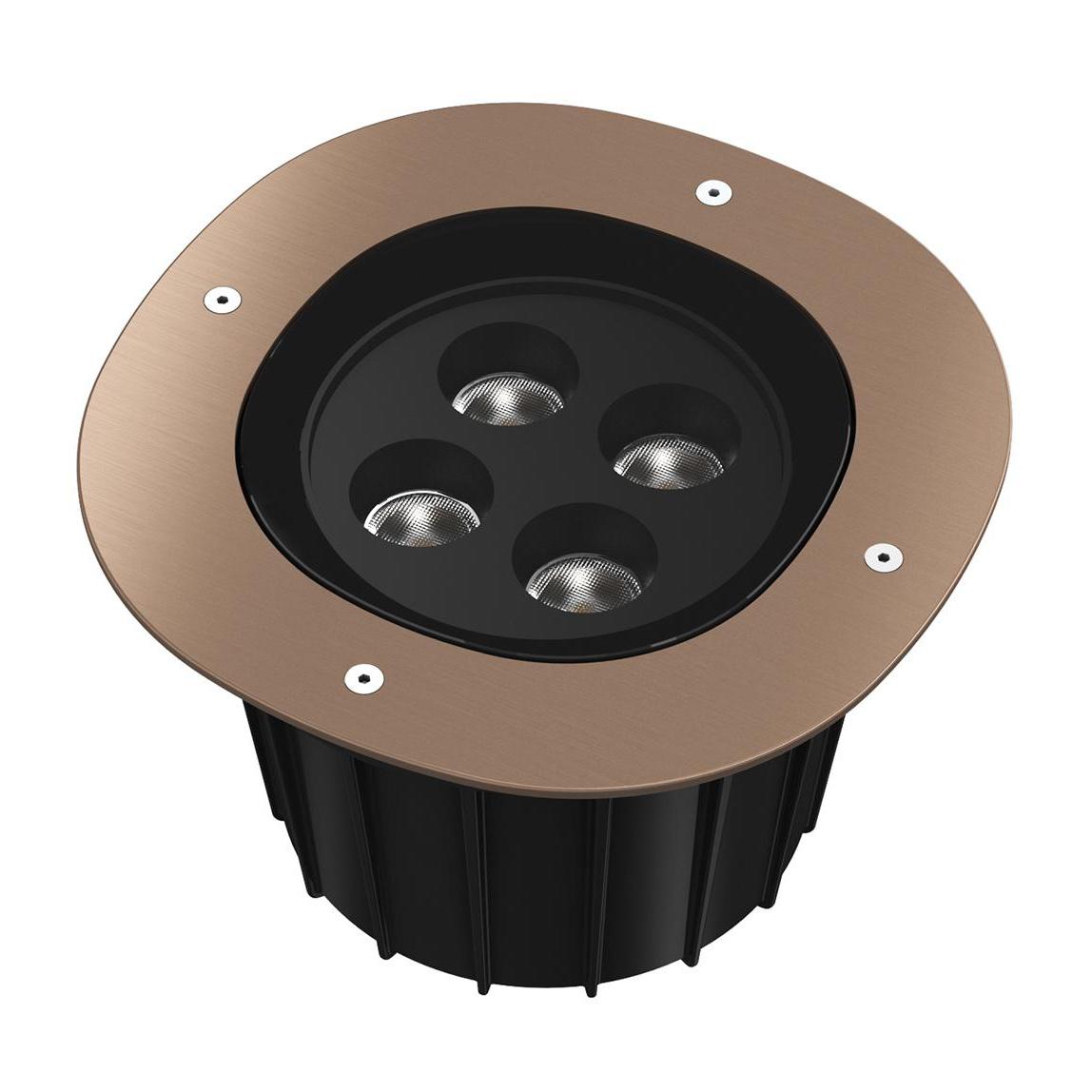 Flos - A-Round 240 LED Außenbodenleuchte 25° - bronze/gebürstet/Abstrahlwinkel 25°/Ø 24cm/T 18|2cm/inkl. Transformator/LED 21W 2040lm 3000K CRI | Lampen > Aussenlampen > Bodeneinbauleuchten | Flos