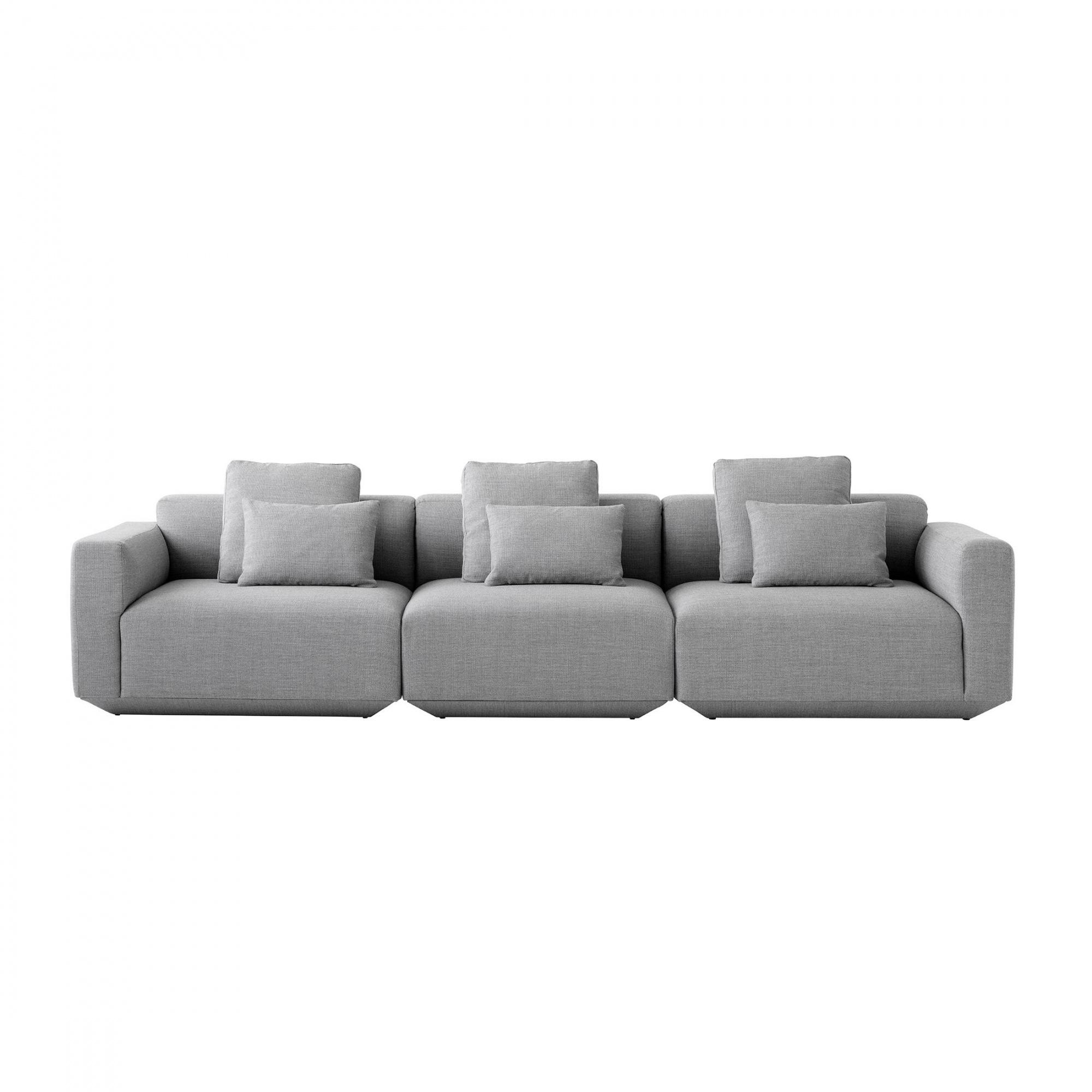 AndTradition - Canapé de 3 places Develius 309x70x89cm - gris/tissu Fiord 151/incl. coussins 13x 50x50cm/3x 50x35cm