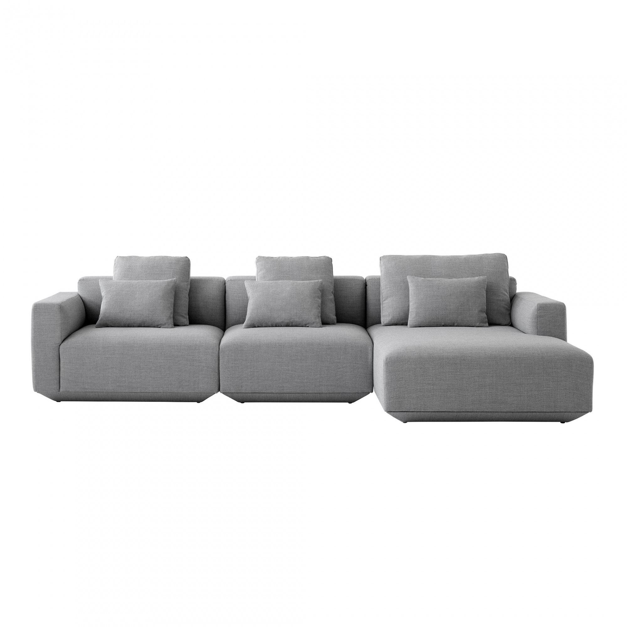 AndTradition - Canapé de 3 places Develius méridienne droit - gris/tissu Fiord 151/incl. coussins 2x 50x50cm/ 1x 80x50cm/1x 50x35cm