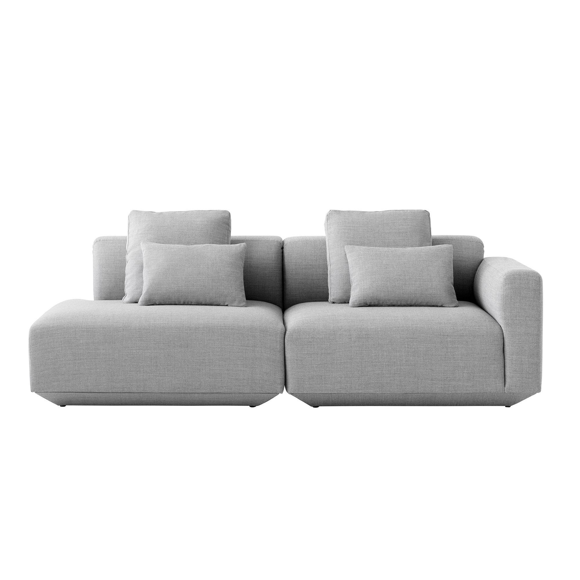 AndTradition - Élement canapé Develius accoudoir droit - gris/tissu Fiord 151/incl. coussins 2x 50x50cm/2x 50x35cm