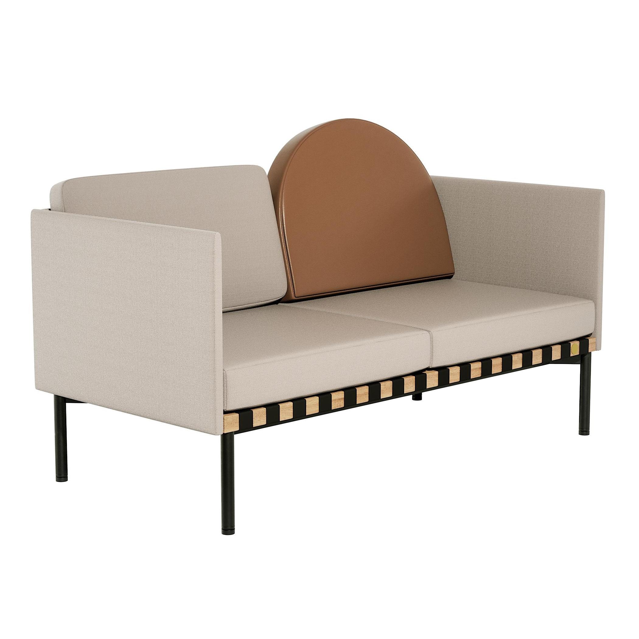Petite Friture - Canapé 2 places 2 accoudoirs Grid structure chêne - beige-gris/étoffe Canvas 2 244/cuir Instill 008/146x71x92cm/pieds acier rev�