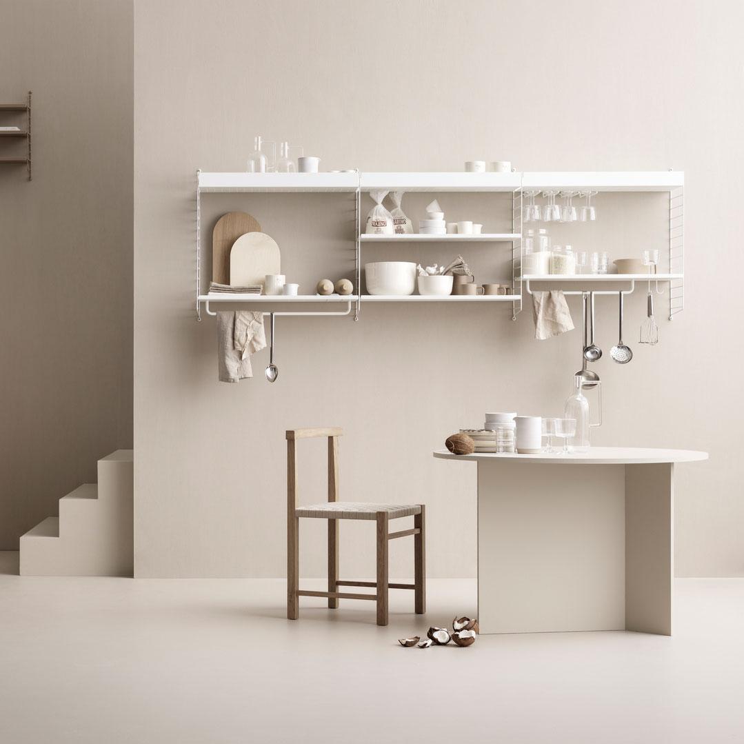 String - Küchenregal 234x50x30cm - weiß/lackiert/BxHxT 234x50x30cm | Küche und Esszimmer > Küchenregale > Küchen-Standregale | String