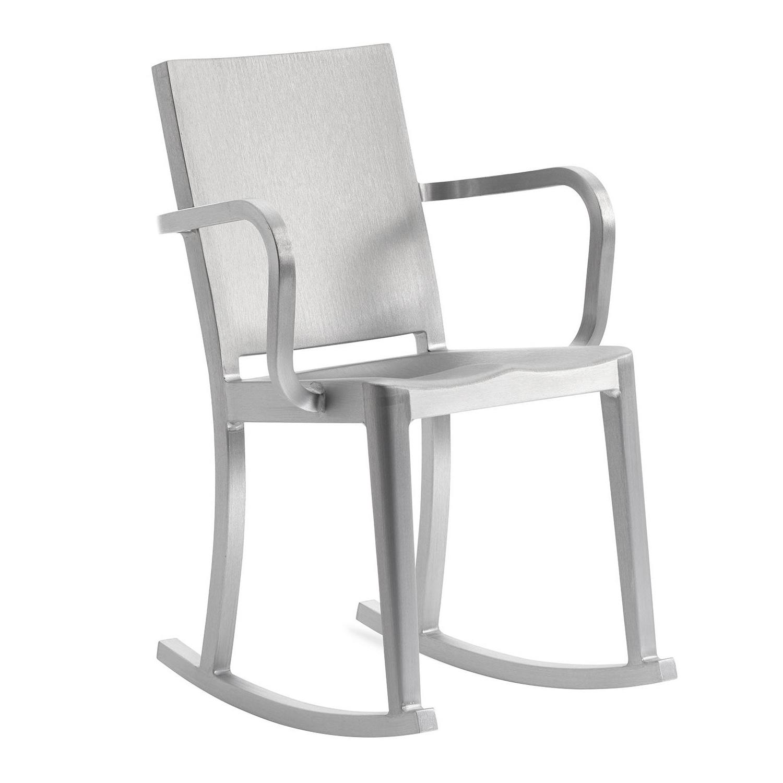 EMECO - Hudson Schaukelstuhl mit Armlehnen - aluminium/handgebürstet/BxHxT 53x80x60cm | Wohnzimmer > Stüle | Aluminium | Recyceltes aluminium | EMECO