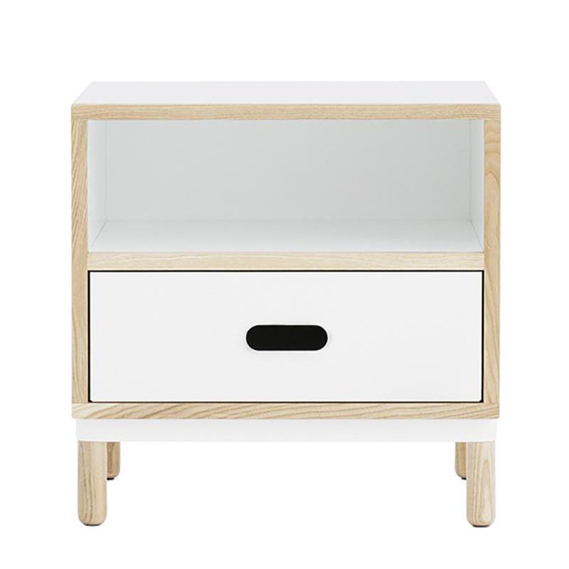 Normann Copenhagen - Kabino Nachttisch - weiß/1 Schublade weiß/H x B x T: 50 x: 50 x 41cm | Schlafzimmer > Nachttische | Weiß | Esche| metall | Normann Copenhagen