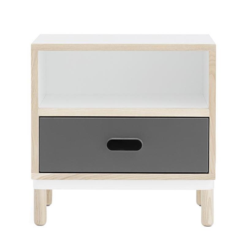 Normann Copenhagen - Kabino Nachttisch - weiß/1 Schublade grau/H x B x T: 50 x: 50 x 41cm | Schlafzimmer > Nachttische | Weiß | Esche| metall | Normann Copenhagen