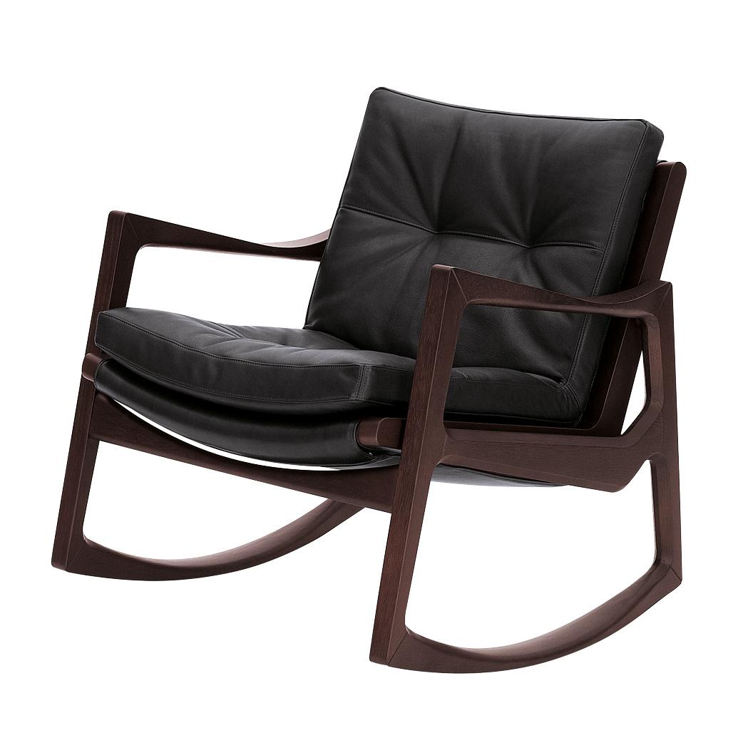 ClassiCon - Euvira Schaukelsessel Leder - schwarz/Leder Premium 100 schwarz/BxTxH 72x75x70cm/Filz-Einsatz Anti-Rutsch/Gestell Eiche braun gebeizt | Wohnzimmer > Sessel > Schaukelsessel | ClassiCon