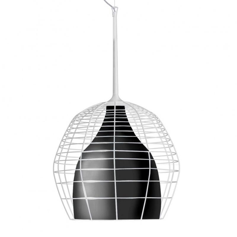 Diesel - Suspension Cage Grande - blanc/diffuseur noir/verre soufflé à la bouche/structure acier laqué blanc/H 76cm/Ø 46cm/baldaquin Ø16cm