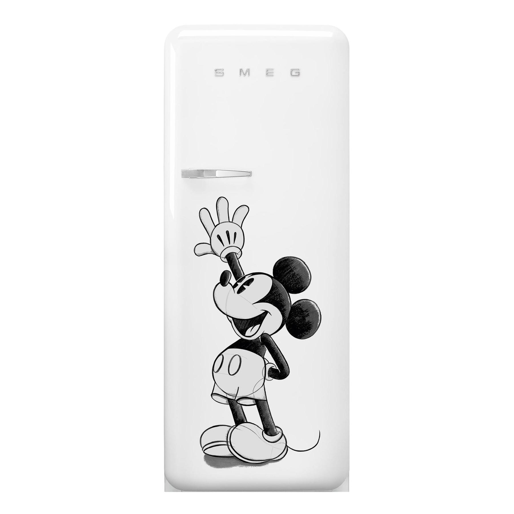 Smeg - FAB28 Mickey Mouse Kühlschrank mit Gefrierfach - weiß/schwarz/lackiert/Türanschlag rechts/BxHxT 60|1x150x78|8cm | Küche und Esszimmer > Küchenelektrogeräte > Kühlschränke | Smeg