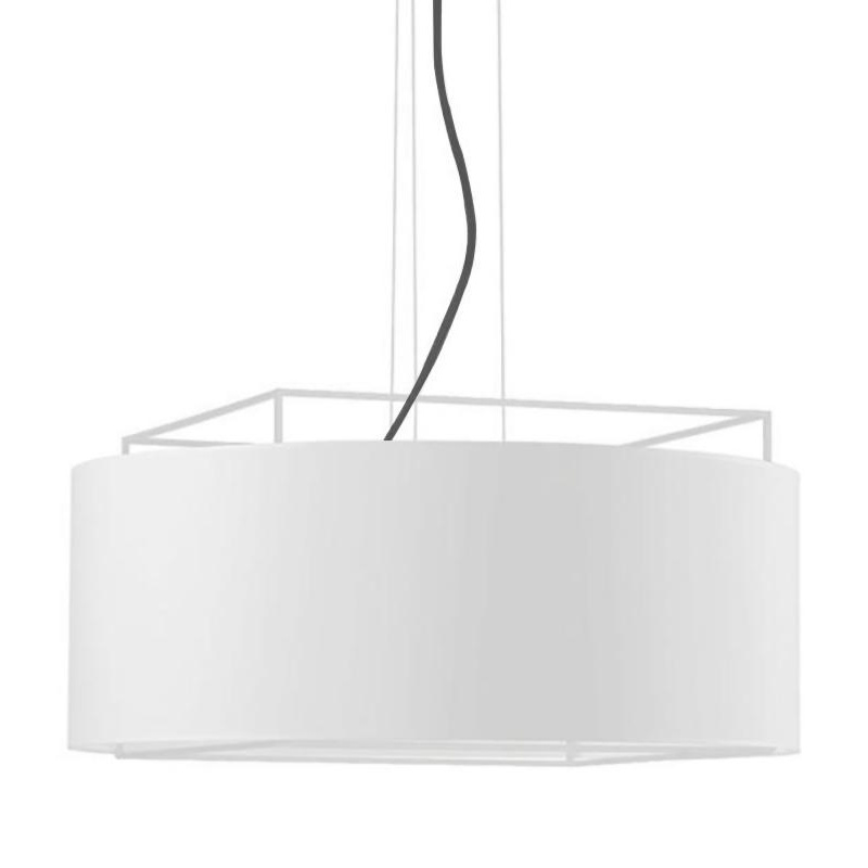 Metalarte - Suspension Lewit t Gr - blanc/intérieur blanc opalux/abat-jour carton/CE/IP20/H 39cm/Ø 90cm/baldaquin blanc Ø12cm/structure métal bl