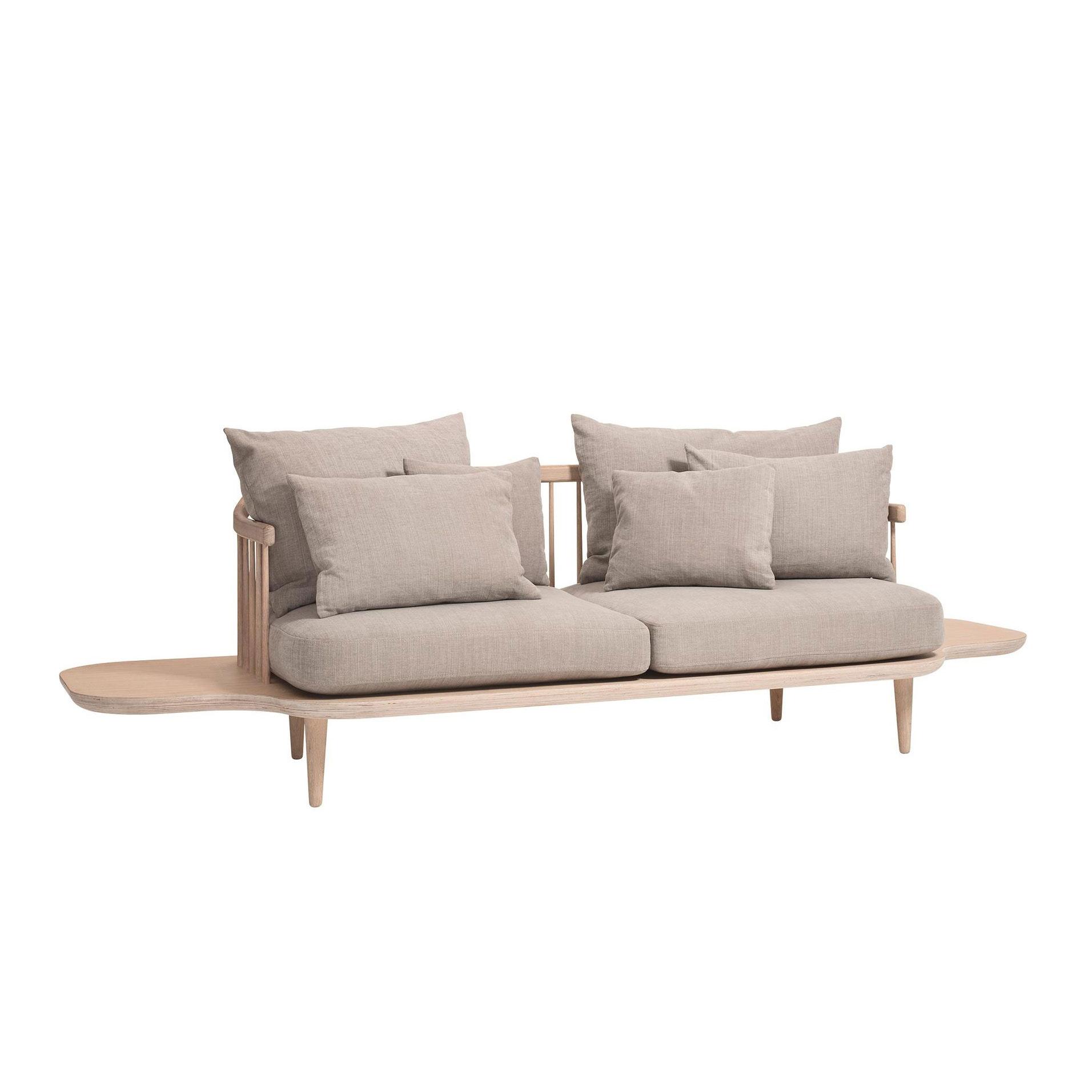 AndTradition - FLY SC3 - Canapé 2 places avec rangement - beige/étoffe Hot Madison 094/piètement en chêne huilé blanc/y compris coussins