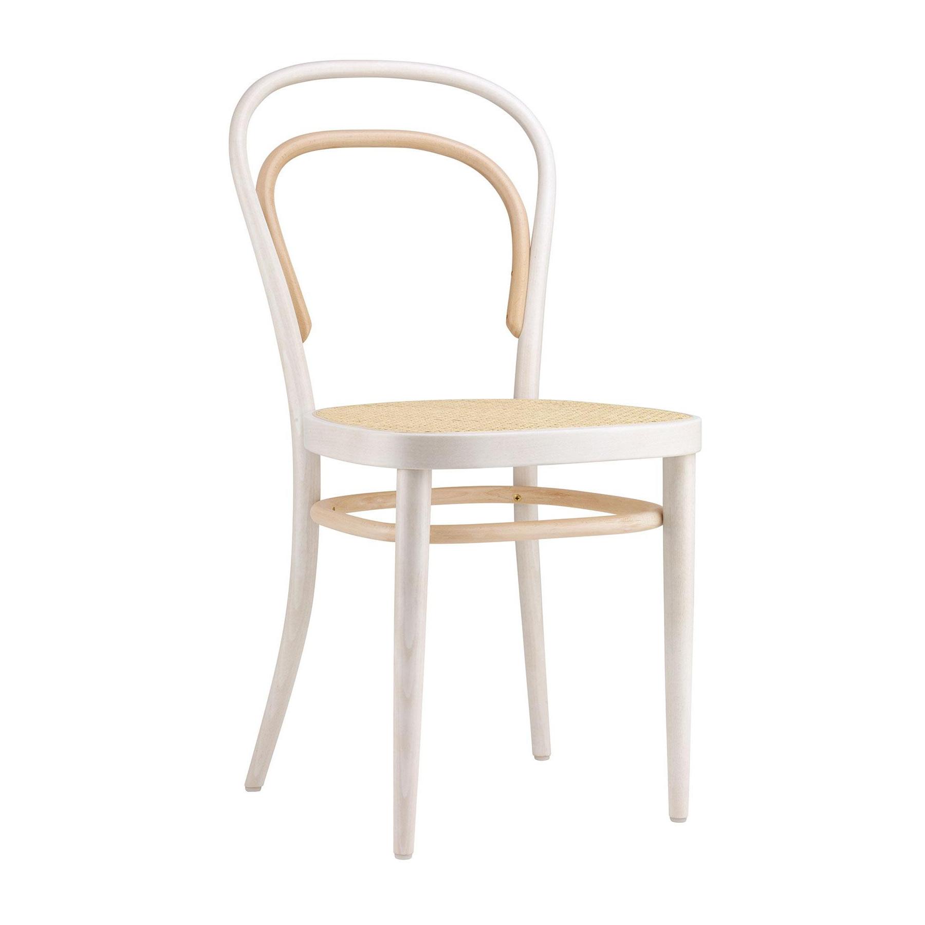 Thonet - Jubiläumsedition 214 Two Tone Bugholzstuhl - weiß/Rohrgeflecht mit Netzverstärkung/BxHxT 43x84x52cm/Gestell Buche gebeizt | Küche und Esszimmer > Stühle und Hocker > Holzstühle | Thonet