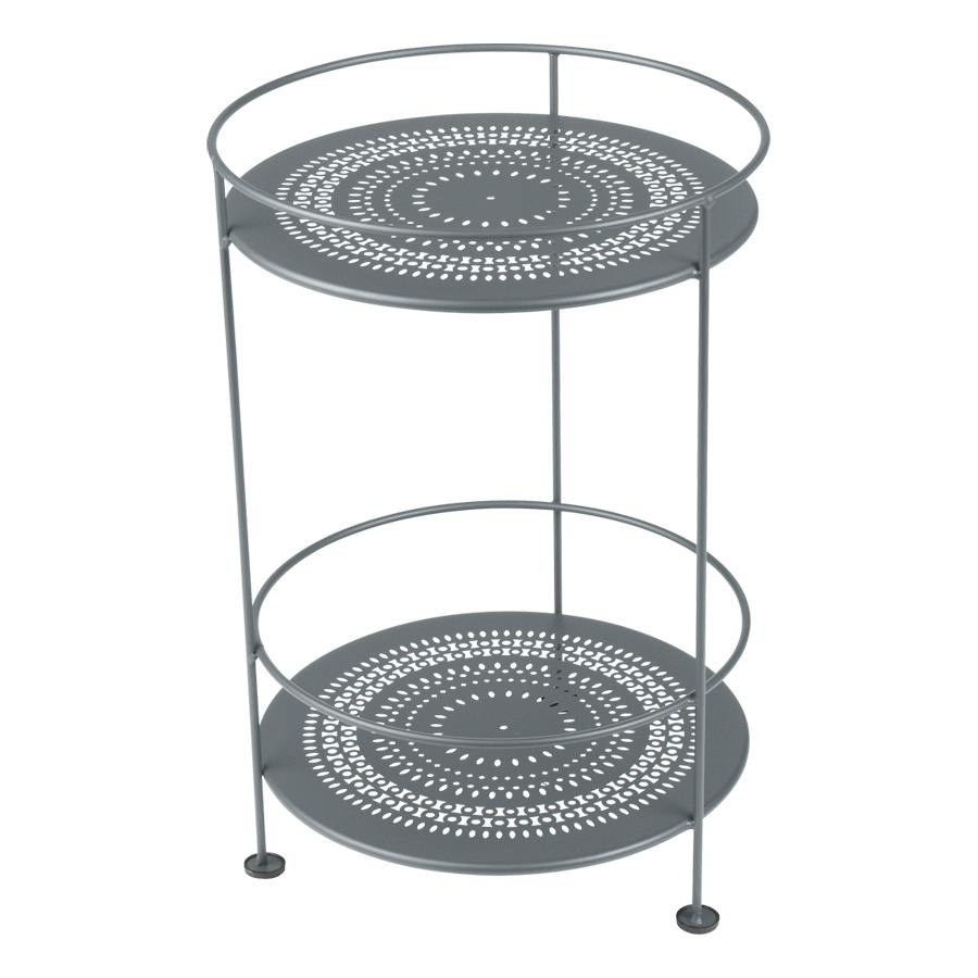 Fermob - Guinguette Garten-Beistelltisch - gewittergrau/texturiert mit Glanz/perforierte Tischplatte/UV-beständig | Garten > Gartenmöbel | Fermob