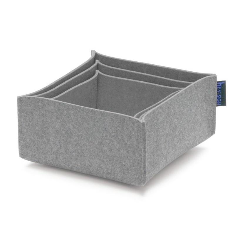 Hey-Sign - Box 2 Filz-Aufbewahrungsboxen 3er Set - hellgrau meliert | Dekoration > Aufbewahrung und Ordnung | Hey-Sign