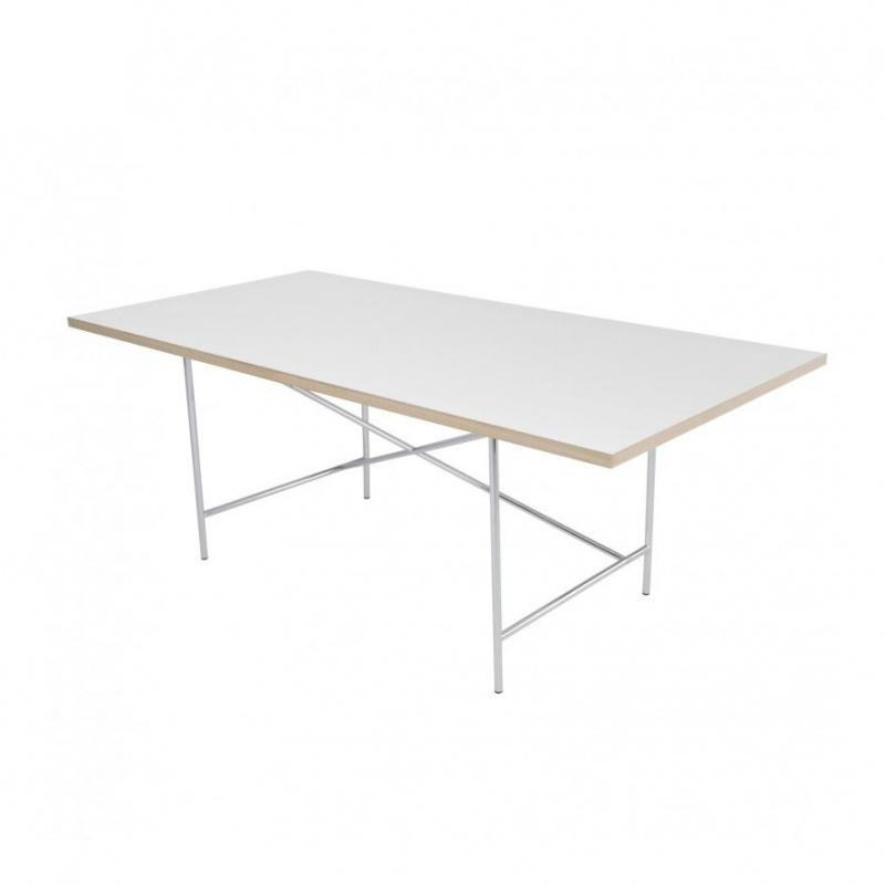 Richard Lampert - Eiermann 1 - Table châssis centré - blanc/chêne/châssis argent/Set de Réglage Hauteur 3,5cm/180x90cm