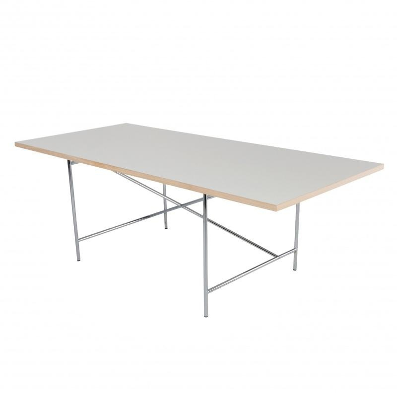 Richard Lampert - Eiermann 1 - Table châssis centré - blanc/châssis chromé/chêne/Set de Réglage Hauteur 3,5cm/200x90cm