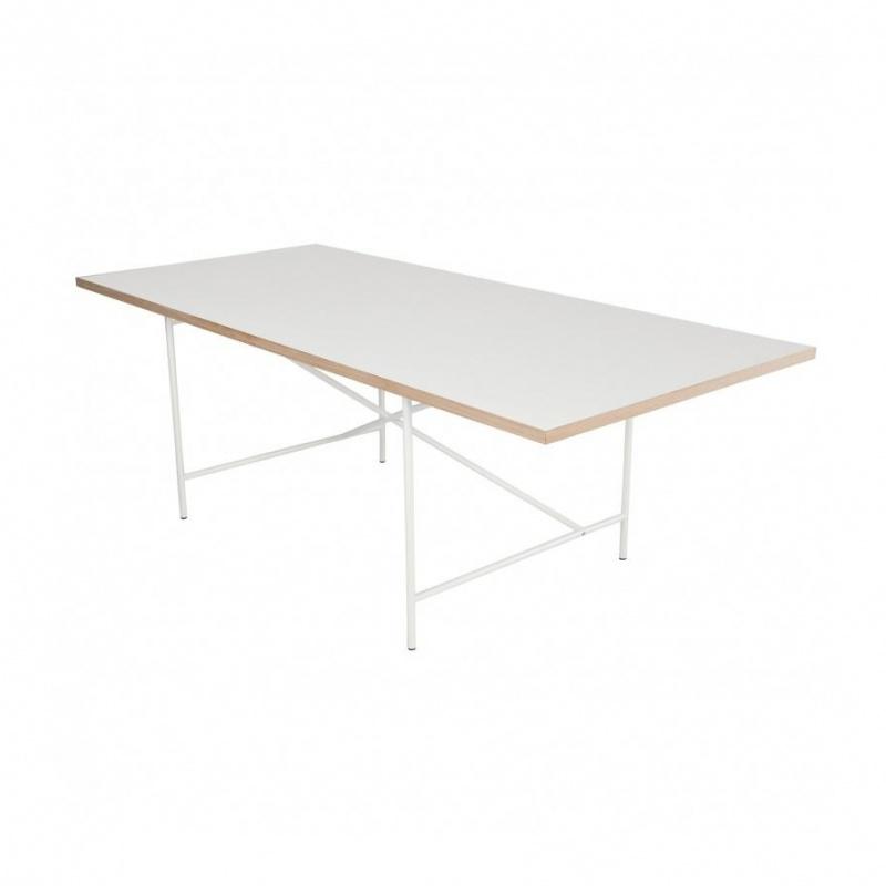 Richard Lampert - Eiermann 1 - Table châssis centré - blanc/châssis blanc/chêne/Set de Réglage Hauteur 3,5cm/180x90cm