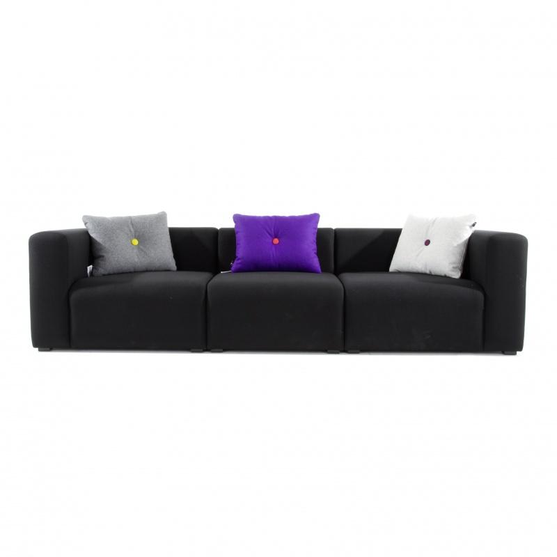 HAY - Mags 3-Sitzer Sofa 268|5x95|5x67cm - schwarz/Stoff Divina 191/Füße Kiefernholz schwarz gebeizt/mit Filzgleiter/Naht schwarz | Wohnzimmer > Sofas & Couches | HAY