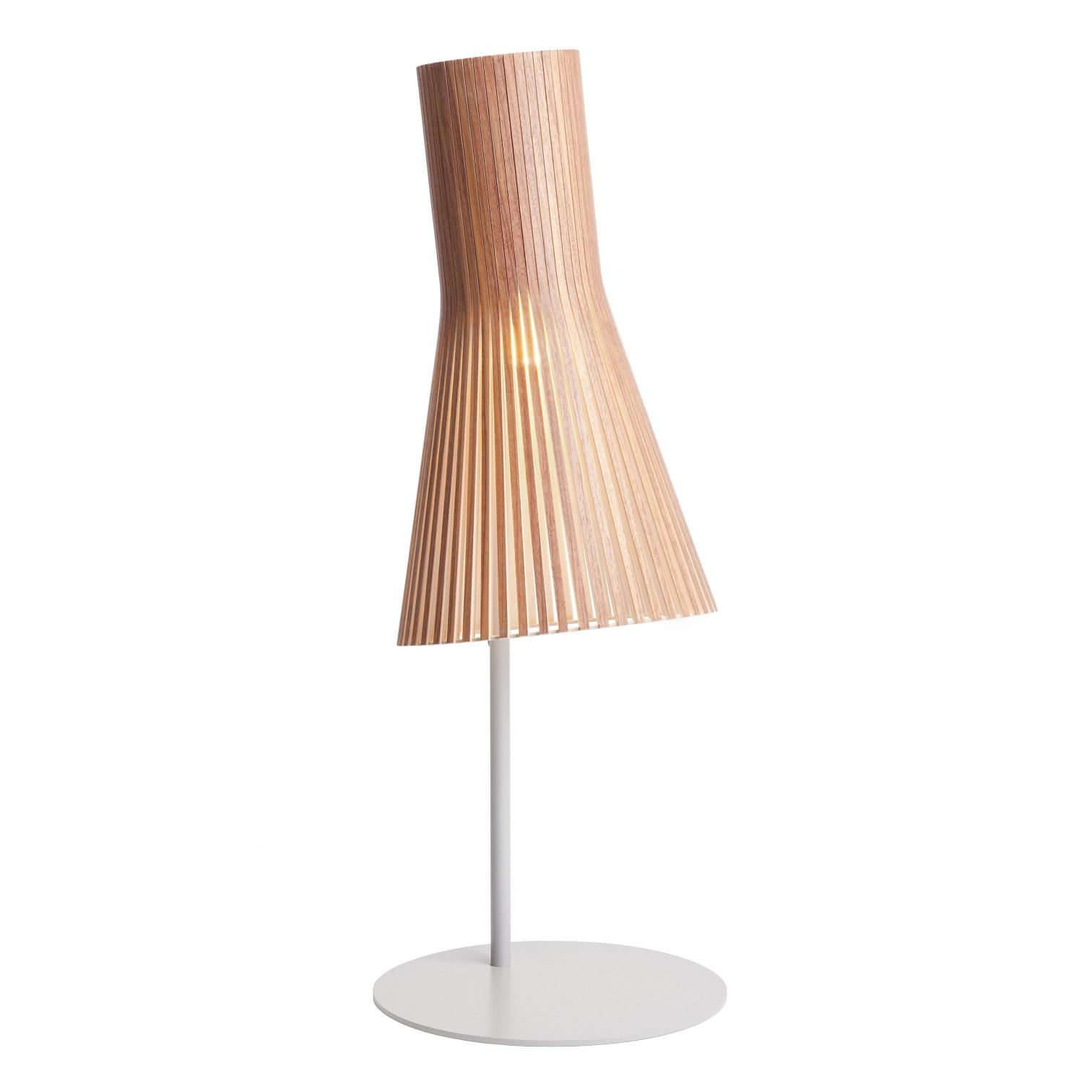 Secto Design - Secto 4220 - Lampe de Table - noix naturel/feuille de placage/incl. ampoule LED 2800K/1055lm/câble noir/support gris