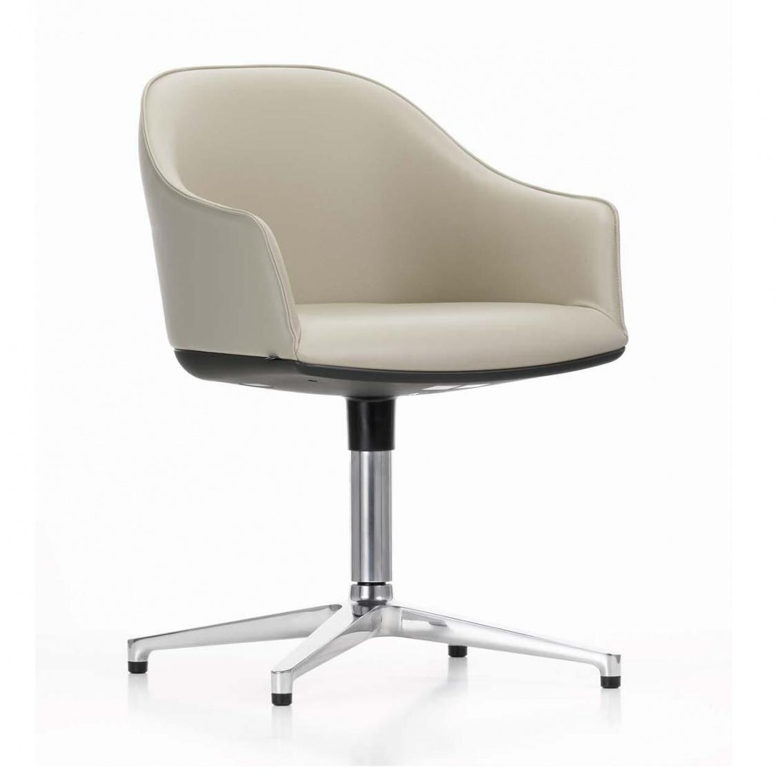 Vitra - Softshell Konferenzstuhl Viersternfuss - sand/Sitzfläche Leder 71/Gestell aluminum poliert/mit Filzgleitern | Büro > Bürostühle und Sessel  > Konferenzstühle | Sand | Polyamid| polyurethanschaum| aluminium | Vitra