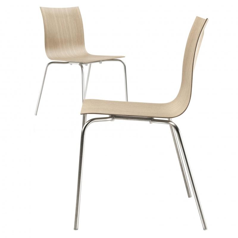 Lapalma Thin S16 Stuhl stapelbar schwarzLederSitzfläche gepolstert